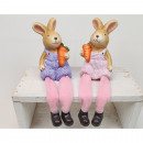 Bunny with jute texture dress 19x6cm 2 times assor