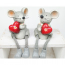 Edge seater mouse with heart, 15x7x6,5cm 2-fold so