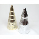 Christmas tree chrome 13x6cm, silver and gold