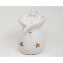 wholesale Fragrance Lamps: Duftstövchen white with Angel XL 13x9x8cm