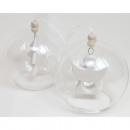 Glass ball with porcelain hanger 8x8cm, 2-fold sor