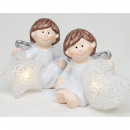 wholesale Light Garlands: Angel with LED star and heart 10x6x5cm, 2-fold sor