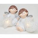 Angyal LED csillaggal és szívvel 10x6x5cm, 2-szere