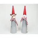 Babbo Natale e alce con sciarpa di lana 24x5,5cm
