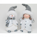 Snowman and angel XL 15x6cm ceramic