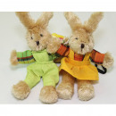 Rabbit and rabbit with pants and dress XL 19x12cm