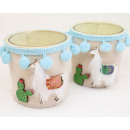wholesale Decoration: Glass XL with llama and linen fabric 11x8cm