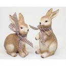 wholesale Figures & Sculptures: Bunny XL with check ribbon 14x8cm & 12x8cm