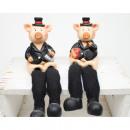 Großhandel Geschenkartikel & Papeterie: Glücksbringer Schwein Kantensitzer 17x5cm