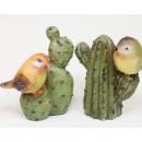 Großhandel Figuren & Skulpturen: Kaktus XL mit Spatz 10x8x5cm, 2-fach sortiert