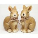 wholesale Figures & Sculptures: Classic rabbit with jute bow XL 13x8cm