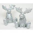 Resin elk silver glitter 8x7x6cm sitting