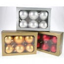 wholesale Home & Living: Balls for tree set of 6 pcs. Each 7cm, 3-way sorti