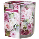 wholesale Candles & Candleholder: Scented candle motif glass roses 120g wax 7x8cm