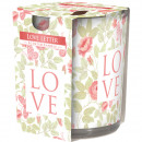 Scented candle motif glass love letter 120g wax 7x