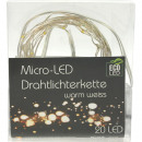 LED-Micro-Lichterkette 20er mit Draht, 2 Meter, in
