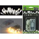 Fények, 10 LED-es meleg fehér, elemes