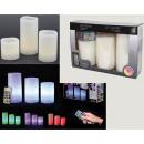 Świece LED wielokolorowy zestaw 4, 3 x prawdziwy w