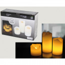 LED candles, set of 3, real wax, batteries include
