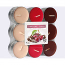 Tealights chocolate - cherry 18 pcs., 3 color