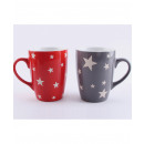wholesale Houshold & Kitchen: Coffee mug 355ml star design red and gray