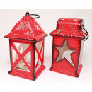 wholesale Wind Lights & Lanterns: Lantern XL 17x9x8cm red two shapes assorted ,
