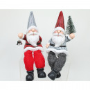 Santa edge seater 19x7x6cm with tree or metal bell