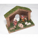 Crib made of wood 15x11x6cm including 5 synthetic