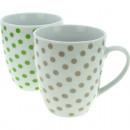 Porzellan Kaffeebecher Punkte 10x8,5cm , ...