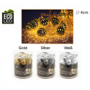Fairy lights metal balls 8er gold, silver, white