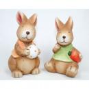 Hase XL 14x8x7cm mit Ei oder Karotte