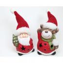 Großhandel Sport & Freizeit: LED Santa oder Elch mit XL Strickmütze 13x6x5cm