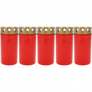 wholesale Candles & Candleholder: Grablicht burner Nr 3 red with gold cover 5er Pack