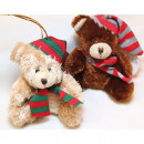 wholesale Fashion & Apparel: Cuddly Teddy with striped cap 10x9x6cm