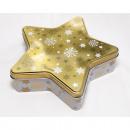 Metal tin in star shape XL 23x6,1cm gold shiny