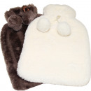 wholesale Wellness & Massage: Hot water bottle 2 liter cuddly fur white / dark b