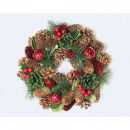 Christmas wreath with shiny balls 25cm