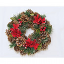 Corona di Natale 25 cm, con 4 stelle di Natale