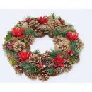 Corona de Navidad XL 33cm con flores de pascua