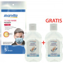 Hygiene-Paket-2 Marvita 5er Masken + 2x80ml Gel