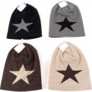 wholesale Headgear: Winter ladies knitted hat with star, bicolor
