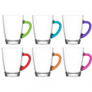 Glass mug handle set of 6 300ml ground colored