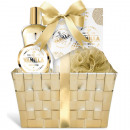 6-piece gold vanilla gift set with wicker basket