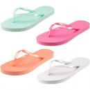 Großhandel Schuhe: Flip Flop Damen 4-fach sortiert , pastell, 100% Ku