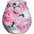 wholesale Candles & Candleholder: Candle in glass 9,3x10cm with pink flowers print