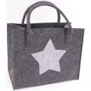 Großhandel Taschen & Reiseartikel: Tasche Shopper Filz ca. 35x20x28cm mit Stern