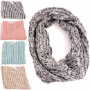 wholesale Scarves & Shawls: Ladies round scarf 28x65cm, 4 colors assorted