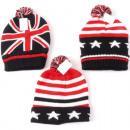 Winter men's knit cap with pompom & envelo