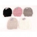 Winter knit hat assorted pattern 5 colors assorted
