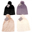 wholesale Fashion & Apparel: Winter knitted hat with rhinestones & pompom